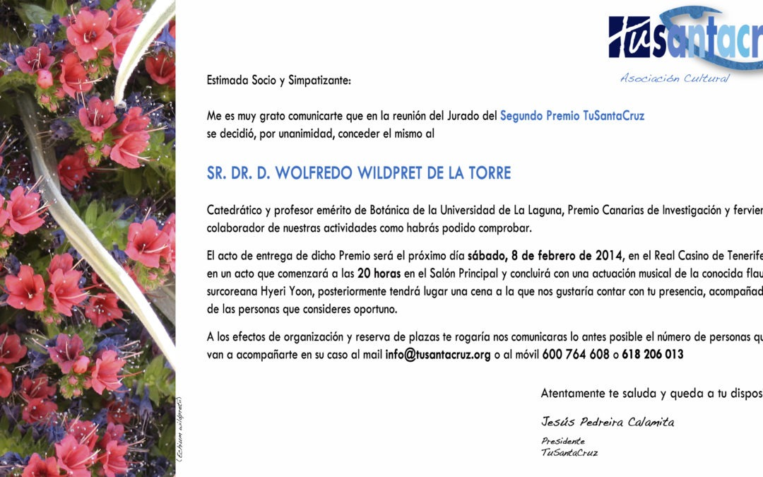 SEGUNDO PREMIO TUSANTACRUZ · WOLFREDO WILDPRET DE LA TORRE · 8 DE FEBRERO 2014 · REAL CASINO DE TENERIFE
