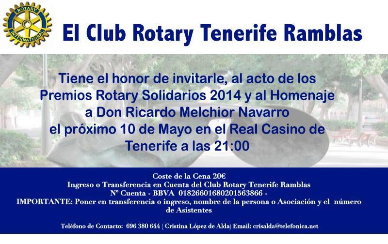 """Premios Rotary Solidarios 2014 """"DISTINCIÓN A LA CULTURA: ASOC. CUL. TUSANTACRUZ"""" 10 de mayo"""