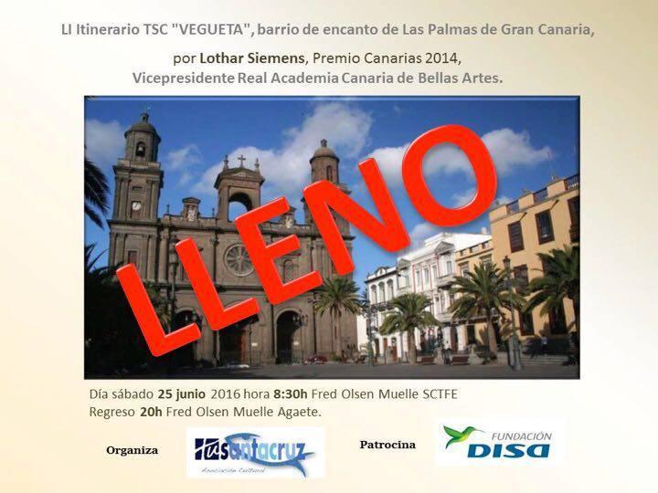 """LII Itinerario Cultural """"Vegueta"""", Sábado 25 de Junio 08:30 H D. Lothar Siemens. Premio Canarias 2014. Vicepresidente Real Academia Canaria de Bellas Artes."""