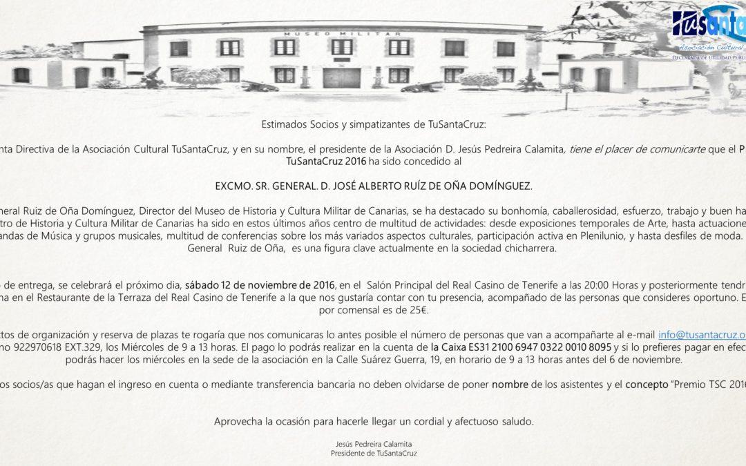 Premio TuSantaCruz 2016 12 Noviembre 2016 20:00H en Real Casino de Tenerife