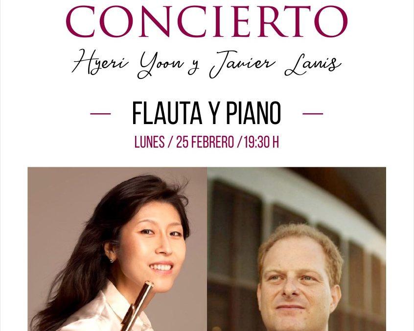 Concierto Flauta Dª. Hyeri Yoon y Piano D. Javier Lanis. Lunes 25 de febrero de 2019, a las 19:30 horas. Salón Principal del Real Casino de Tenerife.