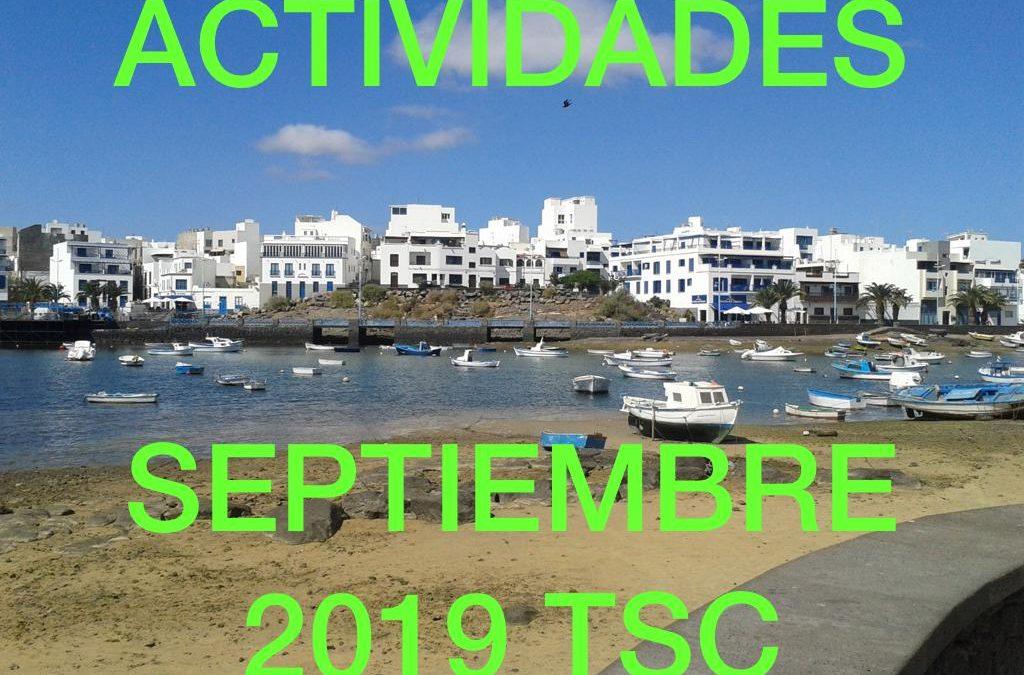 ACTIVIDADES MES SEPTIEMBRE DE 2019 TuSantaCruz.